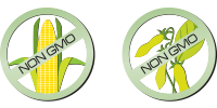 non-gmo icon, corn and soybean icons with non GMO text over the top